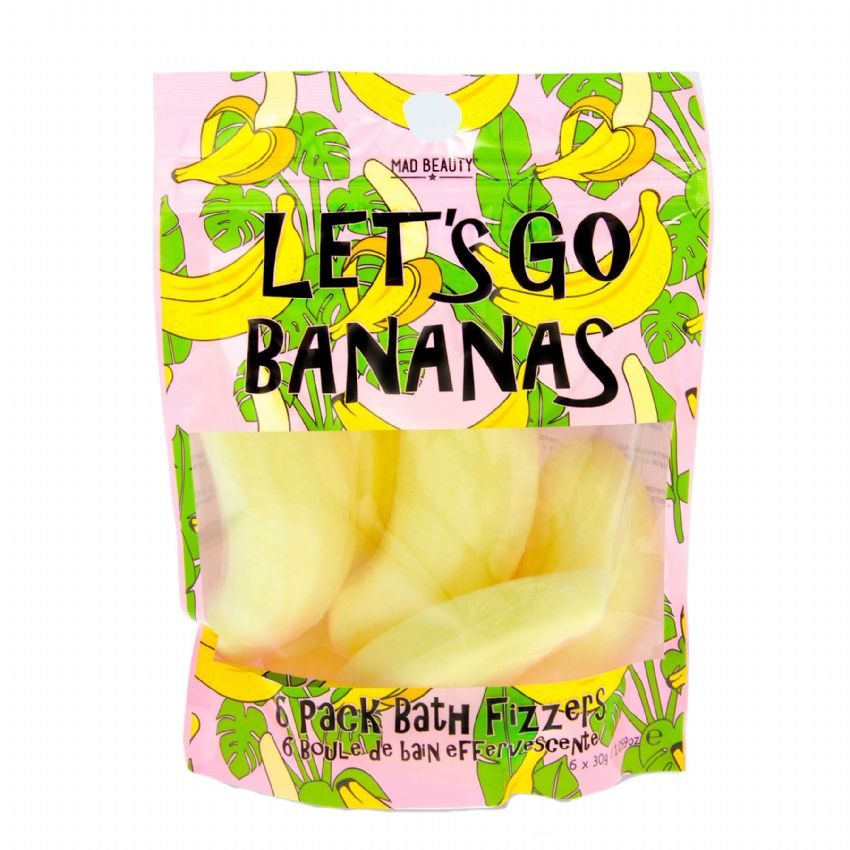 Let's Go Bananas Banana Scented Bath Fizzers 6 x 30g Pack Mad Beauty
